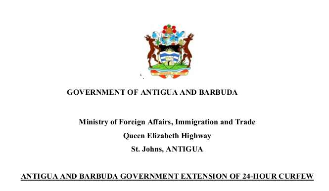 Antigua and Barbuda Government Extension of 24-Hour Curfew