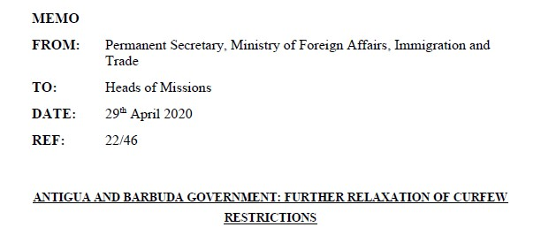 Memo on further relaxation of COVID-19 restrictions
