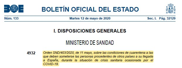 BOE: Information about COVID-19 in Spain