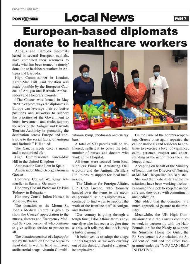 European-based diplomats donate to healthcare workers
