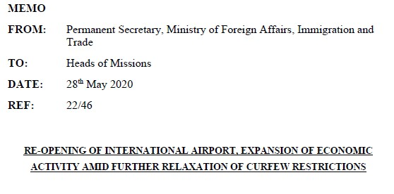 Memo on further relaxation of COVID-19 restrictions and expansion of economic activity