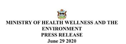 Ministry fo Health Wellness and the Environment Press Release
