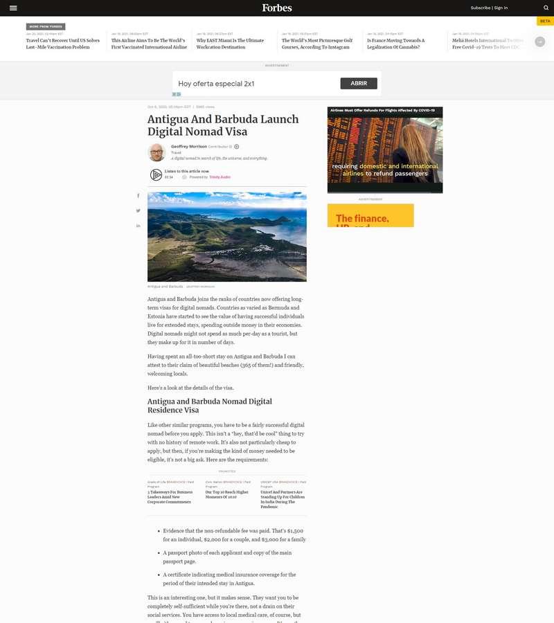 Antigua And Barbuda Launch Digital Nomad Visa