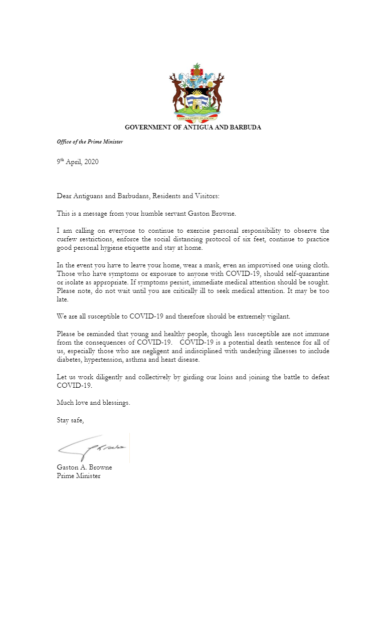 Dario Item News Open Letter from Prime Minister Gaston Browne to Antiguans and Barbudans on COVID-19
