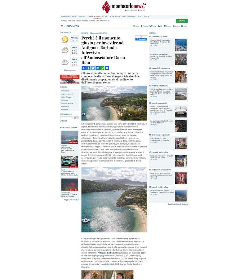 Perché è il momento giusto per investire ad Antigua e Barbuda. Intervista all'Ambasciatore Dario Item