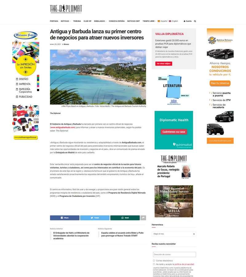 Antigua y Barbuda lanza su primer centro de negocios para atraer nuevos inversores