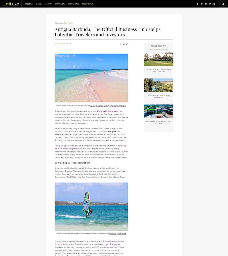 Antigua Barbuda, The Official Business Hub Helps Potential Travelers and Investors