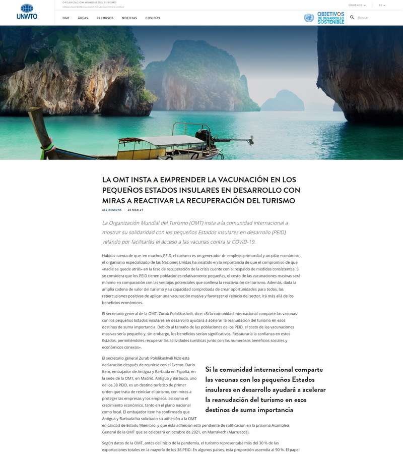 La OMT Insta a Emprender la Vacunación en los Pequeños Estados Insulares En Desarrollo Con Miras a Reactivar la Recuperación del Turismo