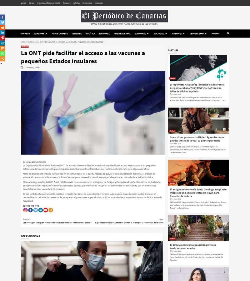 La OMT pide facilitar el acceso a las vacunas a pequeños Estados insulares