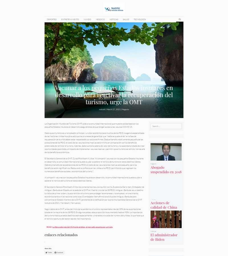 Vacunar a los pequeños Estados insulares en desarrollo para reactivar la recuperación del turismo, urge la OMT