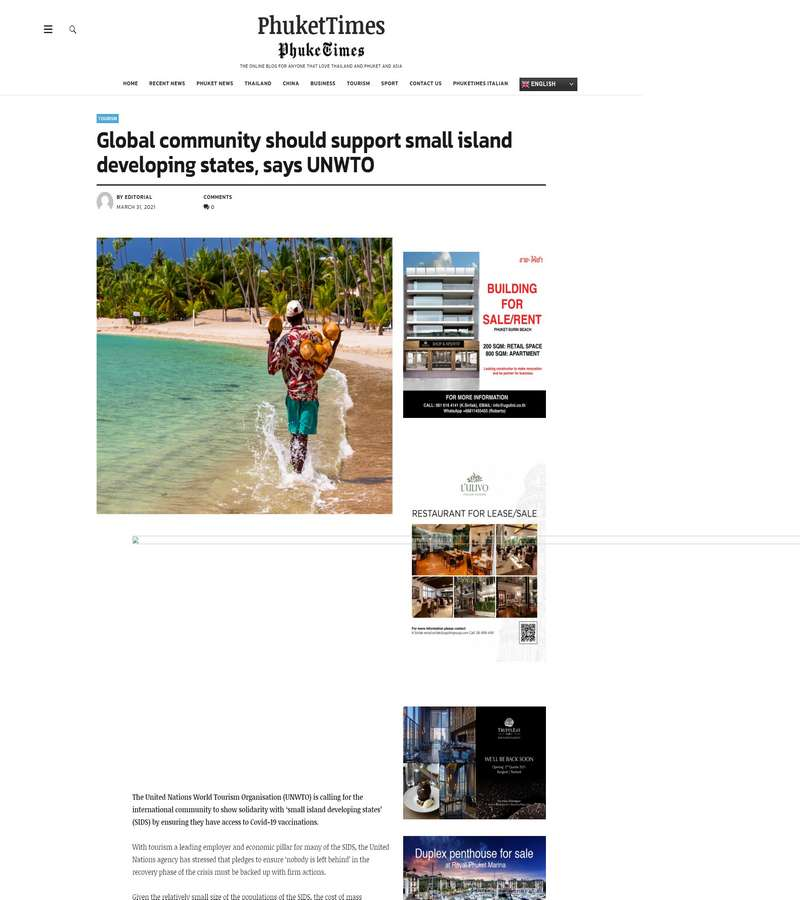 Global community should support small island developing states, says UNWTO