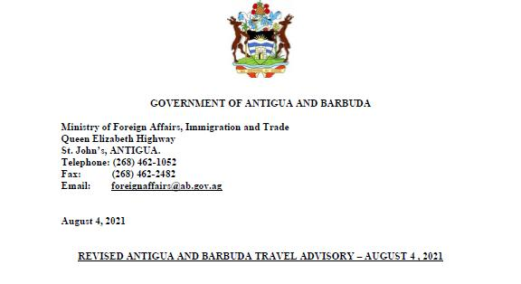 August 4, 2021 Travel Advisory