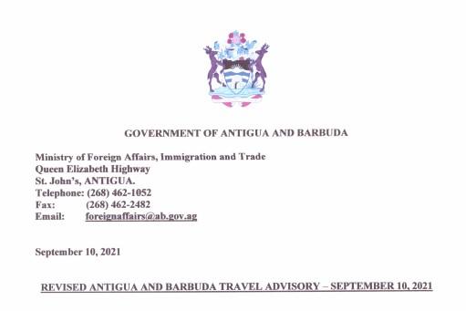 September 10, 2021 Travel Advisory